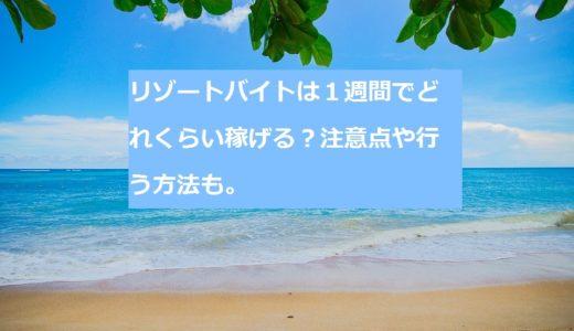 【一週間のリゾートバイト】稼げた額は〇〇万円!注意点や行う方法。